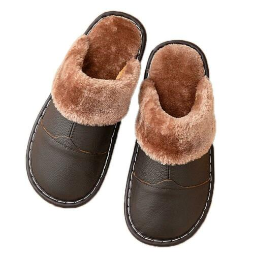 Slippers Plush Leather Autumn Winter Warm Soft Slip On Indoor Home Lovers Unisex