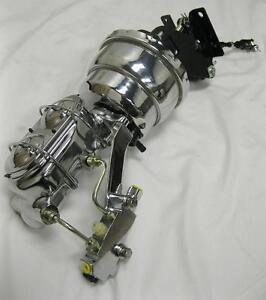 "Chevy Truck 7/"" Disc Drum Power Booster Milled Master Cylinder /& Brackets CHROME"