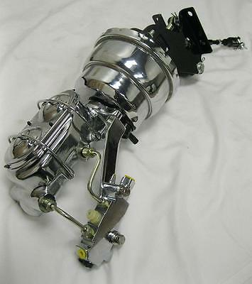 """Chevy 8/"""" Dual Disc Drum Power Booster Bail Top Master Cylinder /& Brackets CHROME"""