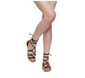 BLACK OPEN TOE CUT OUT CAGED FASHION SANDAL GLADIATOR ANKLE STRAP NEW HOT
