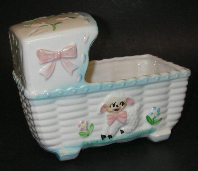 RUBENS Nursery Decor PLANTER Ceramic Baby Crib Bassinet ...