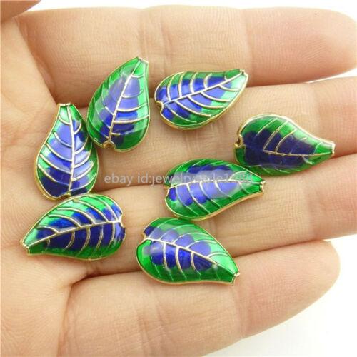 18301 2PCS Alloy Cloisonne Enamel Blue Green Leaf Plant Leaves 17mm Spacer Bead