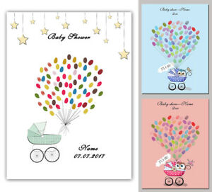 thumbprint baby carriage baby shower birthday guest book canvas