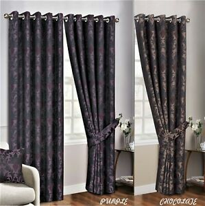 Modern-Floral-Curtain-Pair-Heavy-Jacquard-Ready-Made-Fully-Lined-Top-Eyelet-Ring