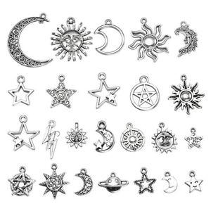 23-pcs-Mix-Style-Star-Moon-Sun-Planet-Charm-Tibet-Silver-Pendant-Bracelet-Beads