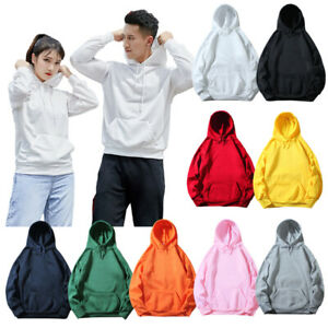 Unisex Men Women Plain Hooded Sweatshirt Coat Hoodie Fall Pullover Sweater Tops