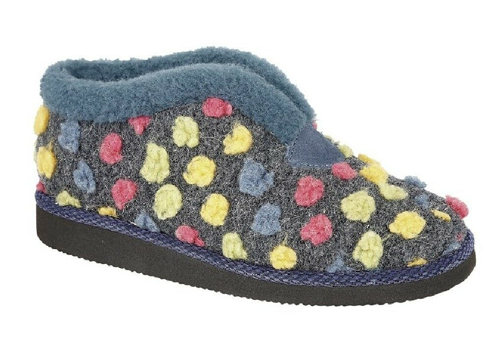 Sleepers Ladies Multicoloured Tilly Bootee Textile Slippers Blue/Multi Textile Bootee c0c9d5