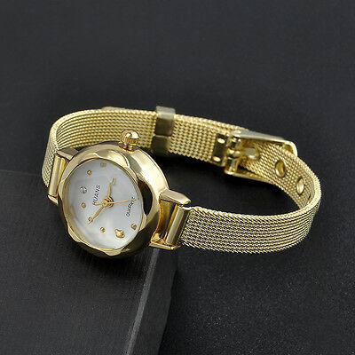 Fashion Stainless Steel Women's Lady Bracelet Crystal Dial Quartz Wrist Watch