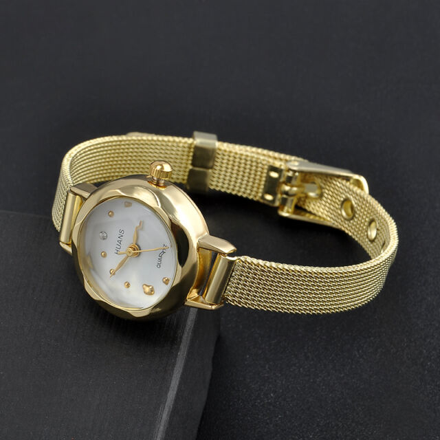 Stainless Steel Women's Fashion Lady Bracelet Crystal Dial Quartz Wrist Watch