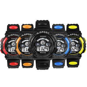 Herren Jungen Leuchtendes Wecker Uhr Cool Led Quarz Sport Armbanduhr