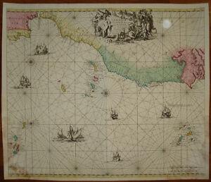 Cartina Geografica Canarie.Oceano Atlantico Carta Nautica Canarie Gibilterra Capo Verde 1700 De Wit Renard Ebay