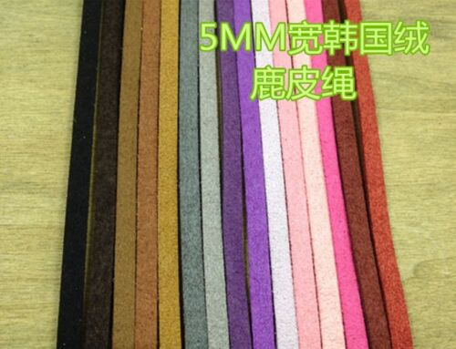Multi Color 5mm  Faux Suede Leather Cord DIY Cord Supplies 100 meters