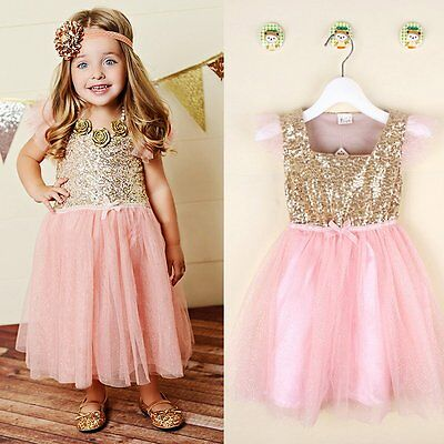Flower Girls Kids Toddler Baby Princess Party Gold Sequins Wedding Tutu Dresses