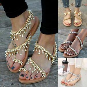 Details about Womens Bohemian Flat Sandals Open Toe Rhinestone Flowers Flip Flops Summer Shoes
