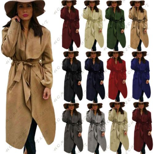 Ladies Women Italian Waterfall Long Sleeve Winter Parka Outwear Trench Coat 8-14