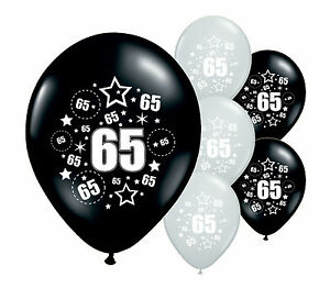 Image Is Loading 20 X 65TH BIRTHDAY BLACK AND SILVER 12