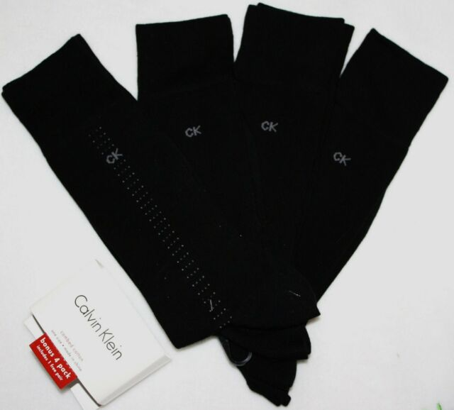 13571f4ded1e Calvin Klein Mens (bonus 4 Pack) Cotton Dress Socks Black One Size ...