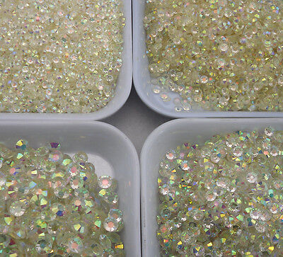 Jelly crystal white AB Multiple facets resin flat back rhinestone 2 3 4 5 6mm