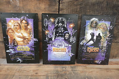 Set of 3 - STAR WARS Trilogy - Empire Jedi Movie Poster Home Theater METAL SIGNS