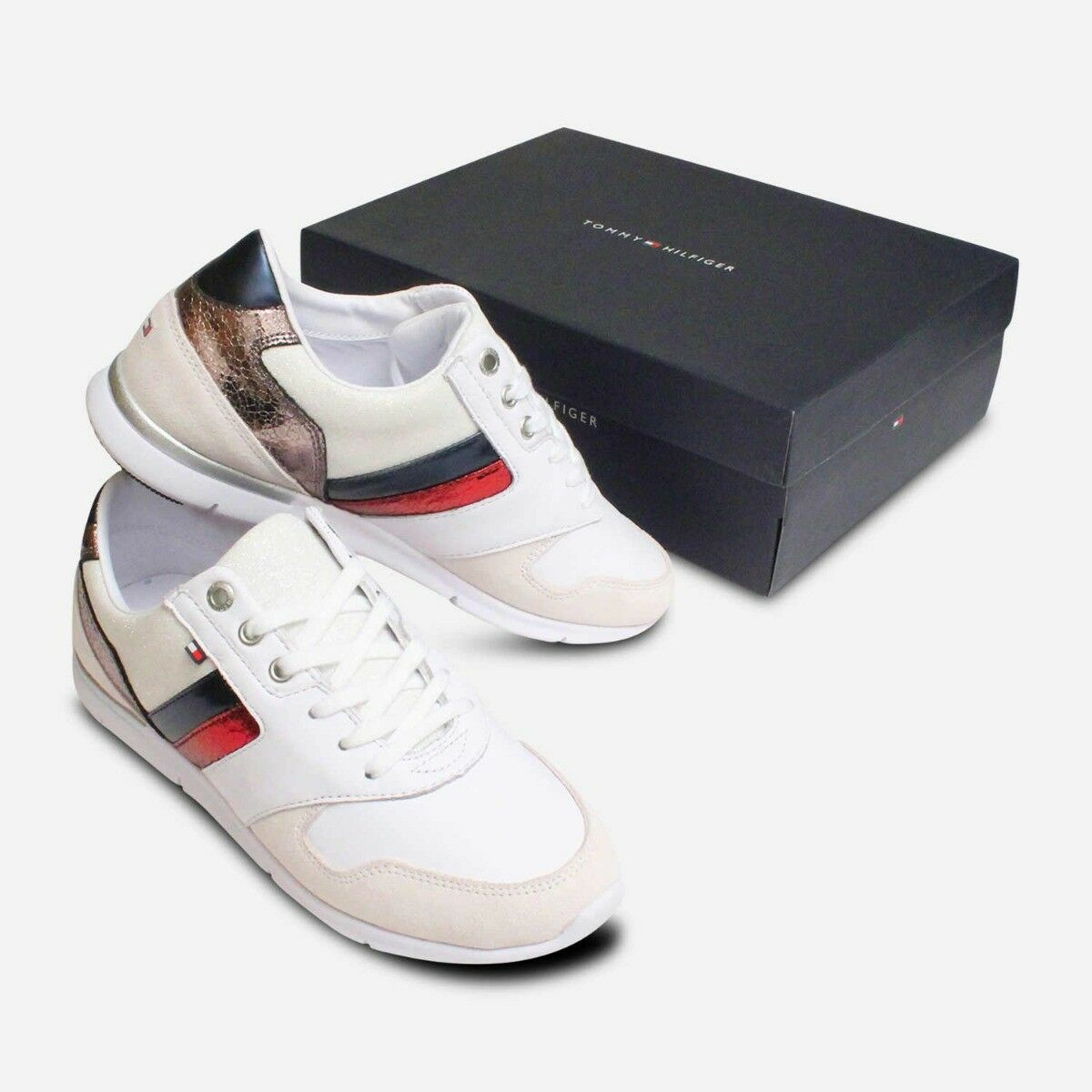 White Leather Tommy Hilfiger Lightweight Ladies Trainers