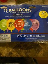 """/""""Congrats Grad/"""" Assorted Latex Balloons-15 count-NEW-12in round"""