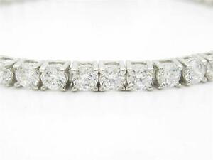 Platinum-Sterling-Silver-Diamond-Set-White-Sapphire-Round-Cut-7-034-Tennis-Bracelet