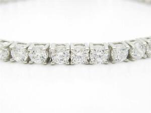 Platinum-Sterling-Silver-Diamond-Set-White-Sapphire-Round-Cut-6-034-Tennis-Bracelet