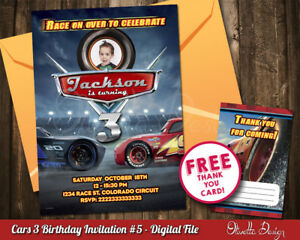 Image Is Loading Cars 3 Birthday Party Invitation Personalized With Photo
