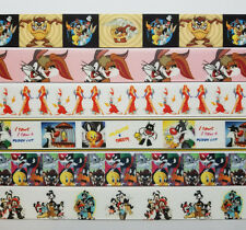 6 Yds Mixed Lot Looney Tunes/Cartoon  Inspired grosgrain Ribbon 1 Yard Each