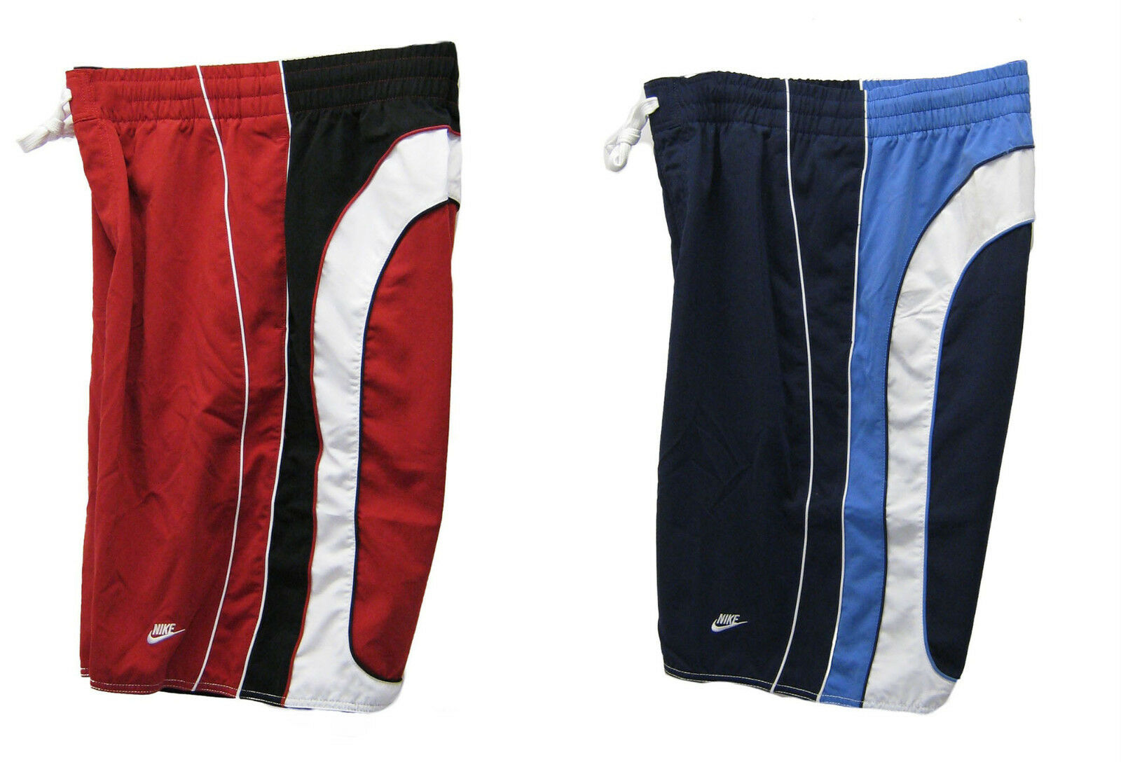 2 Pairs NEW NIKE Active Beach Water Sports Board Shorts Trunks Red & bluee L