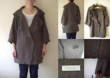 BONSUI at TOPSHOP Brown Wool Long Knit V-neck Pocket French Jumper 10 38 NWT £55