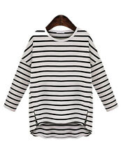 US Women Fashion Stripe Casual Long Sleeve Cotton T-shirt Loose Tops Blouse PLUS