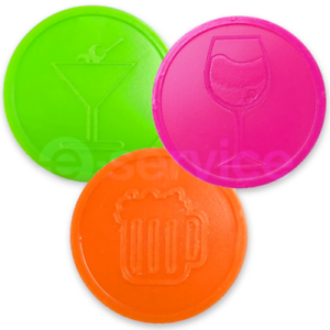 Custom-Embossed-Plastic-Tokens-EVENT-DRINK-ALCOHOL-PARTY-WEDDING-19-COLOURS