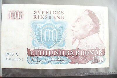 Intelligent Ancien Billet - 100 Kronor SuÈde 1965 - Etat Ttb+ !!! Opruimingsprijs