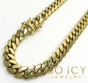 7mm-24-32-034-10K-Yellow-REAL-Gold-Miami-Cuban-Italy-Curb-Mens-Chain-Necklace