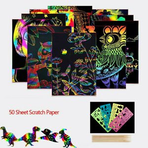 50Sheets-Scratch-Art-Paper-Magic-Rainbow-Painting-Doodle-Boards-5Wooden-Stylus