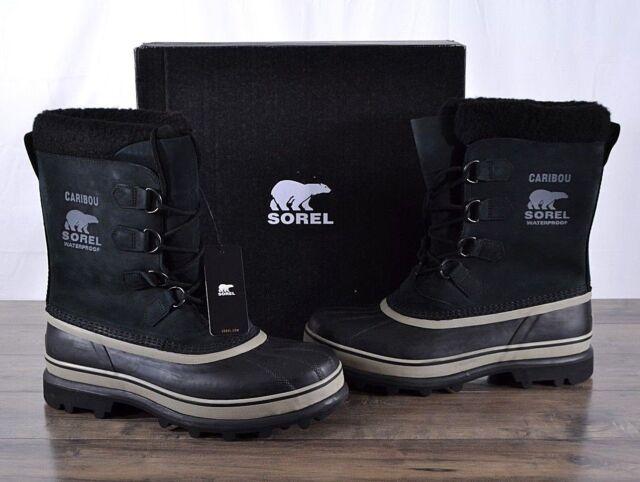 02df137527b Sorel Caribou Mens Waterproof Snow Winter BOOTS Black / Tusk Nm1000 Sz 10