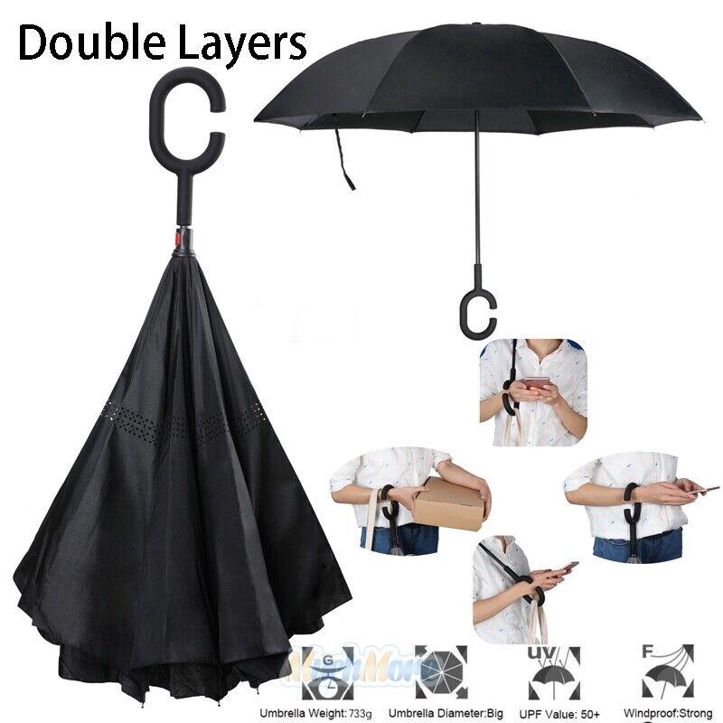 Double Layer Inverted Umbrella C-Shaped Handle UV50 Windproof Reverse Parasols