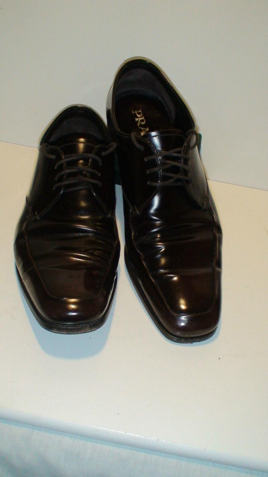 Para Hombre Prada Marrón Charol Vestido Zapatos Talla 8.5. cerca de como nuevo.
