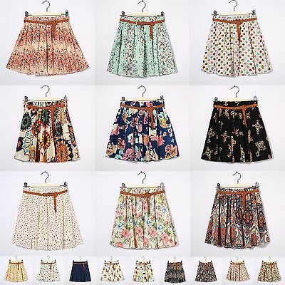 New Women Retro High Waist Pleated Chiffon Printing Sheer Short Mini Skirt Dress