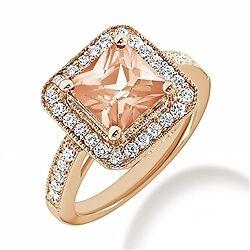 FINE PEACH PINK MORGANITE & DIAMOND HALO ENGAGEMENT COCKTAIL RING 14K ROSE GOLD