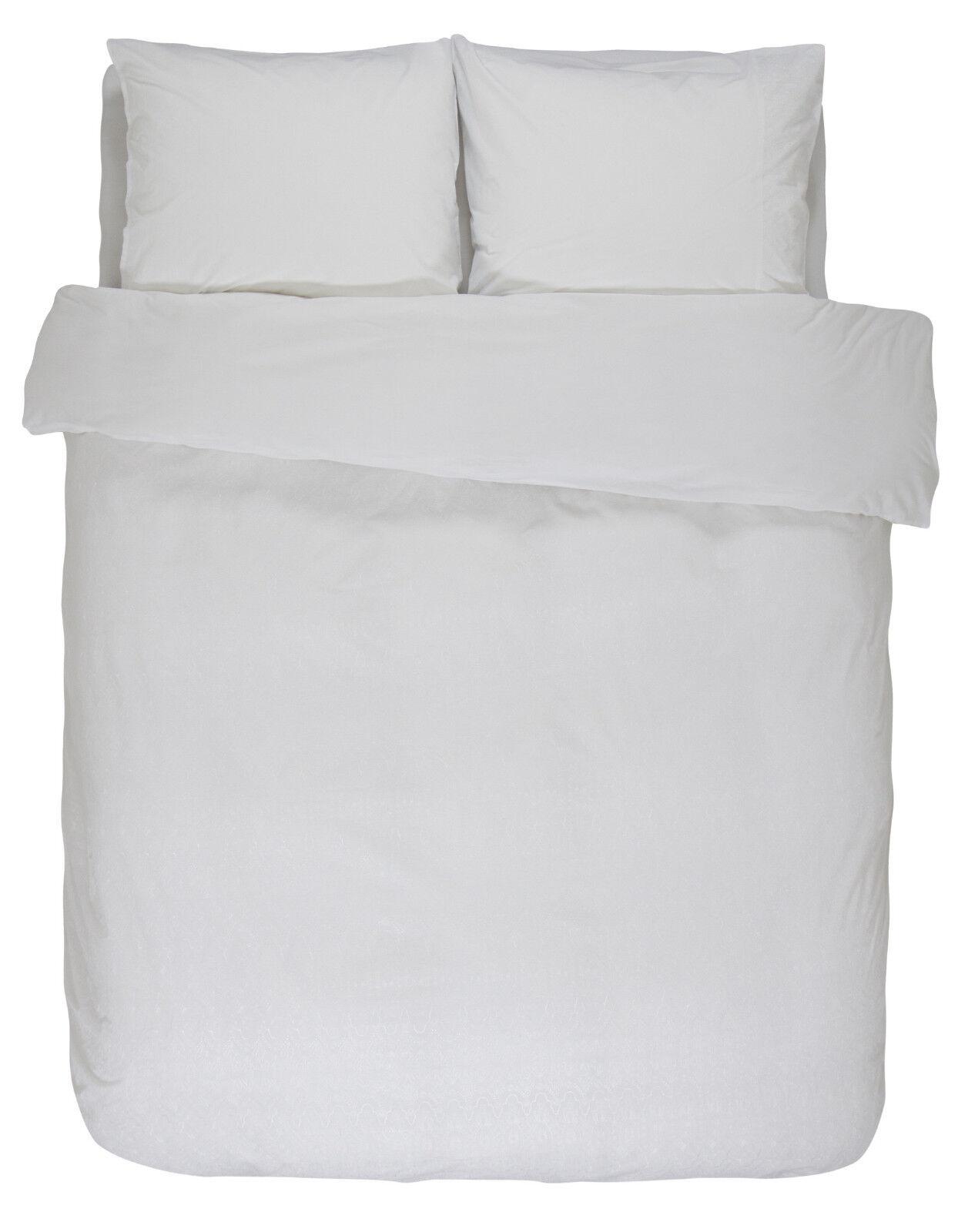 Essenza Bettwäsche Rhodes Weiß 135 155 200 Premium Baumwolle Weiß mit Plisse | Modern