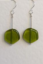 STERLING SILVER 925 EARRINGS Czech GLASS Olive Green Lollipop HANDMADE