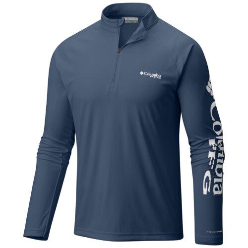 "New Mens Columbia PFG /""Terminal Tackle/"" 1//4 Zip Omni-Wick T-Shirt Top Tee Polo"