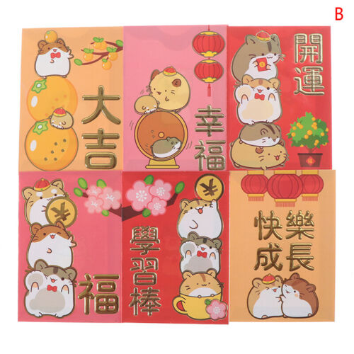 6pcs//set Chinese New Year Red Money Envelope Year of the Rat 2020 Red Poc ZS D/_X