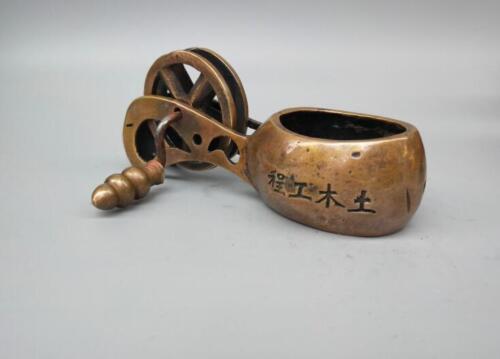 Chinese antique pure brass carpenter tool crafts statue