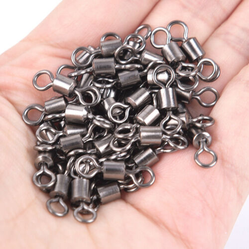 50PCS Fishing Barrel Bearing Rolling Swivel Solid Ring Lures Connector 11 Si  SI
