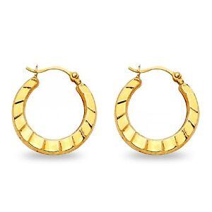14K Solid Yellow Gold Two Tone Fancy Diamond Cut Hollow Milgrain Hoop Earrings