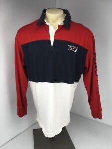 1077784ccf6 Vtg 90s Nautica L/S Polo Rubgy Shirt Color block Flag Sailing ...