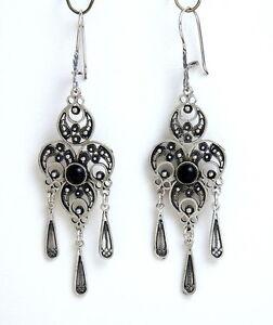 9177e0a55 Image is loading Black-Onyx-Dangle-Drop-Earrings-Sterling-Silver-Filigree-